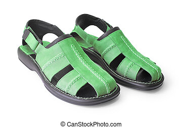 sandal - green sandal isolated on white (contains clipping...
