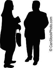 silhouettes of two people standing and talking to each other