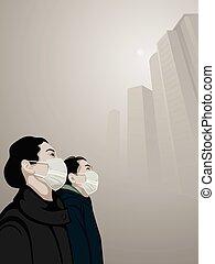 Urban air pollution - Women wearing mouth mask against air...