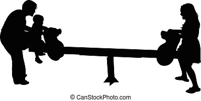 fun on seesaw, happy family silhouette vector
