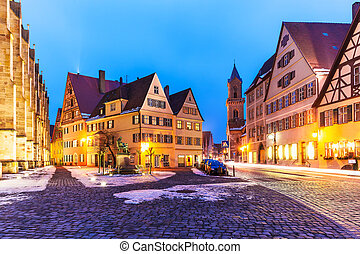 Dinkelsbuhl, Germany - Scenic winter evening view of the Old...