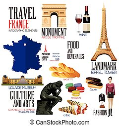 Infographic elements for traveling to France - A vector...