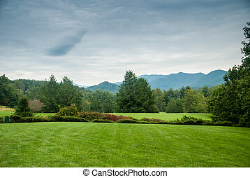 Lawn in Western North Carolina - A grassy lawn stretches out...