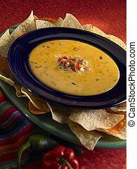 Queso with chips - Plate of queso with chips