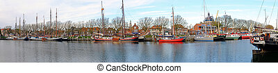 Panorama from the harbor from Enkhuizen in the Netherlands