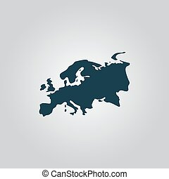 Eurasia map. Flat web icon, sign or button isolated on grey...