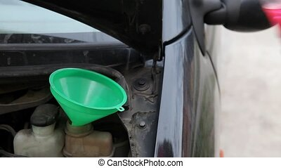 Mechanic pouring antifreeze to car - Automotive, car...