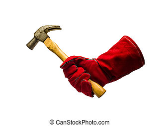 Protective glove and hammer - Protective glove holding...
