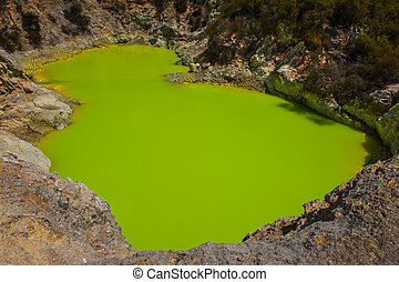 Inferno Crater Lake - Incredibly green and highly toxic...