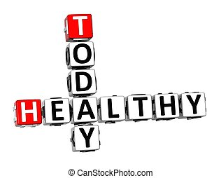 3D Crossword Healthy Today on white background