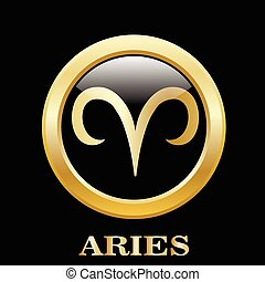 Aries zodiac sign in circle frame - Aries zodiac sign in...