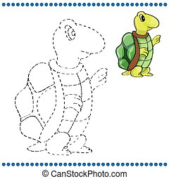 Connect the dots and coloring page with tortoise