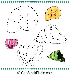 Connect the dots and coloring page with shells
