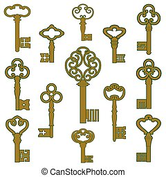 Bronze keys with patina decor - Collection of antique bronze...