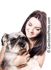 Girl with her Schnauzer