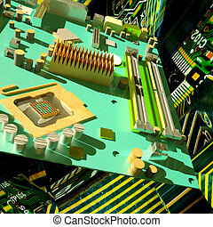 Motherboard on a tech background
