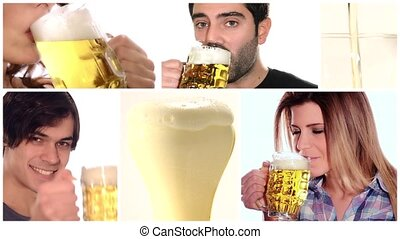 beer collage - boy and girl drinking beer over white...