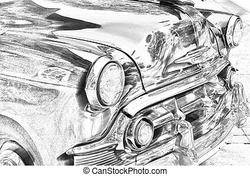 Sketch of classic, vintage car grill - Sketch of classic,...