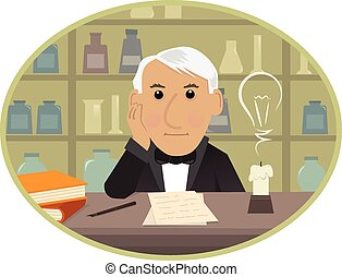 Edison - Cartoon Thomas Edison is sitting behind his desk...