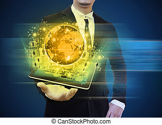 businessman holding tablet technology business concept