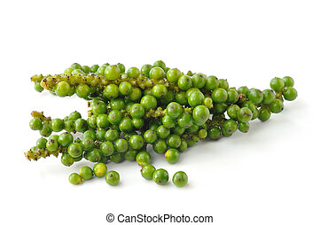 Bunches of fresh green pepper isolated on white background