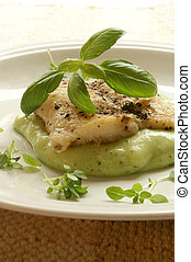 greek sea bream fillet with mashed potatoes and basil