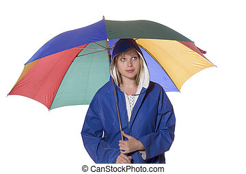 women in blue rain coat looking pessimistic - young women in...
