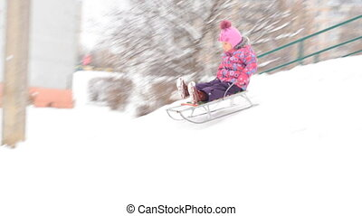 Child Sledding on Hill, Kid Playing, Sledging in Park in...