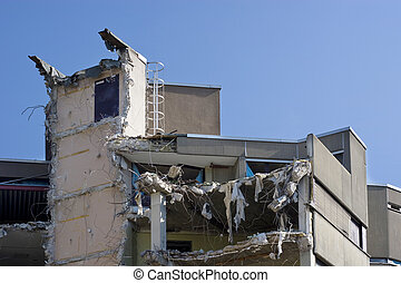 Destroyed building, can be used as demolition, earthquake,...