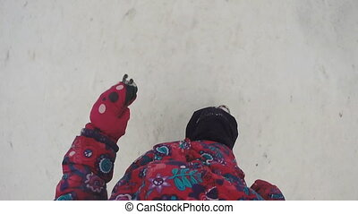 Little Girl Runs with Camera on the Head. Slow motion.