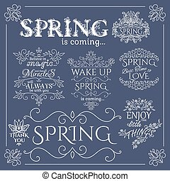 Set of headlines with Spring Quotes. Vector illustration