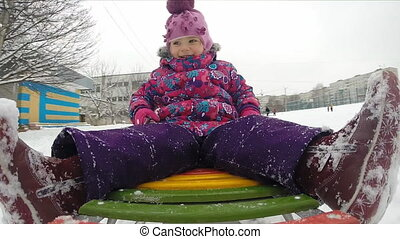 Child Sledding and Crash, Kid Playing, Slow Motion - Child...