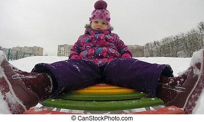 Child Sledding and Crash, Kid Playing, Slow Motion - Child...