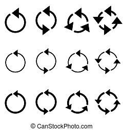 Rotating circle arrows - Black rotating circle arrows...