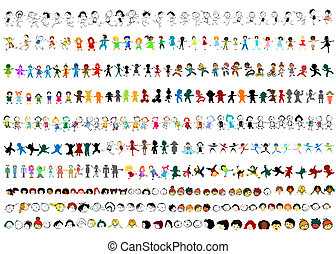 happy kids - large collection of children silhouettes, happy...