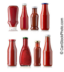 Bottle of Ketchup - the various barbecue sauces in glass...