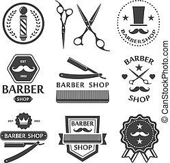 Barber shop logo, labels, badges vintage set