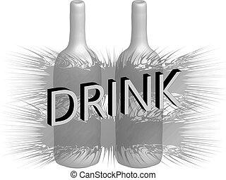Drink, 3D bottle, render illustrati
