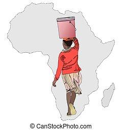 den, betydelse, av, Vatten, In, Afrika,