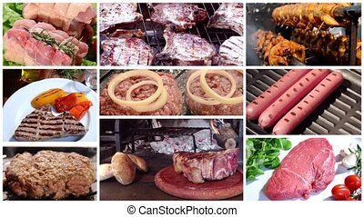 meat, composition - meat collage including burgers, grilled...