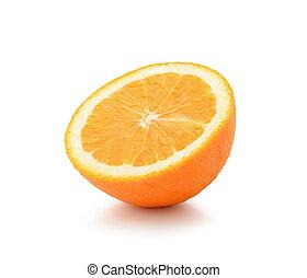 Half orange fruit on white background, fresh and juicy