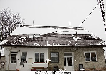 snow on the roof - dangerous snow falling from the roof of...