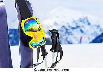 Ski equipment with skies mask and polles - Mountain ski with...