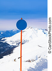 Round shaped attention sign on mountain landscape - Round...