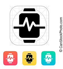 Pulse on smart watch icon.