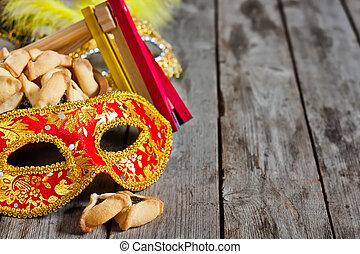 Purim background - Hamantaschen cookies or Haman's ears,...