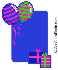 Birthday Card - Background illustration with balloons and...