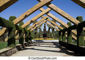 wooden corridor - a wooden corridor in a park