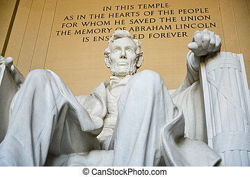 Lincoln Memorial - Washington, DC - Statue of Abraham...