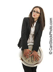 portrait of a beautiful young woman holding a big clock